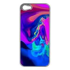 The Perfect Wave Pink Blue Red Cyan Apple Iphone 5 Case (silver) by EDDArt