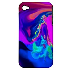 The Perfect Wave Pink Blue Red Cyan Apple Iphone 4/4s Hardshell Case (pc+silicone) by EDDArt