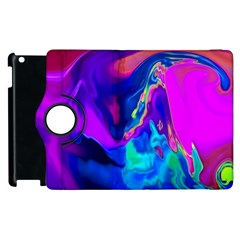 The Perfect Wave Pink Blue Red Cyan Apple Ipad 3/4 Flip 360 Case by EDDArt