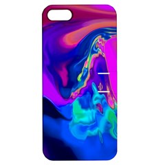 The Perfect Wave Pink Blue Red Cyan Apple Iphone 5 Hardshell Case With Stand by EDDArt