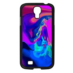 The Perfect Wave Pink Blue Red Cyan Samsung Galaxy S4 I9500/ I9505 Case (black) by EDDArt