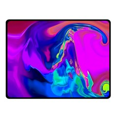 The Perfect Wave Pink Blue Red Cyan Double Sided Fleece Blanket (small)  by EDDArt