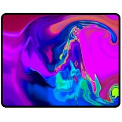 The Perfect Wave Pink Blue Red Cyan Double Sided Fleece Blanket (medium)  by EDDArt