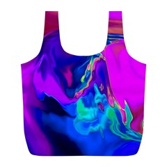 The Perfect Wave Pink Blue Red Cyan Full Print Recycle Bags (l)  by EDDArt