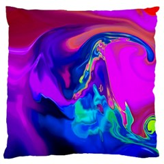 The Perfect Wave Pink Blue Red Cyan Large Flano Cushion Case (one Side) by EDDArt