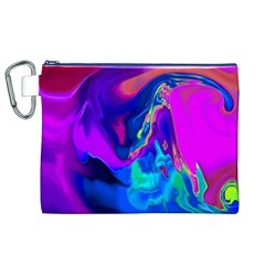 The Perfect Wave Pink Blue Red Cyan Canvas Cosmetic Bag (xl) by EDDArt