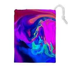 The Perfect Wave Pink Blue Red Cyan Drawstring Pouches (extra Large) by EDDArt