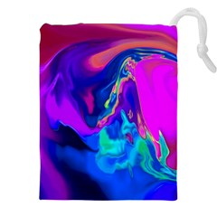 The Perfect Wave Pink Blue Red Cyan Drawstring Pouches (xxl) by EDDArt