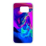 The Perfect Wave Pink Blue Red Cyan Samsung Galaxy S7 White Seamless Case Front