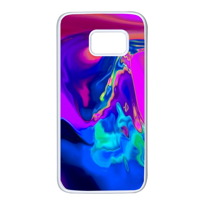 The Perfect Wave Pink Blue Red Cyan Samsung Galaxy S7 White Seamless Case