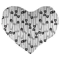Safety Pin Pattern Large 19  Premium Heart Shape Cushions by Mishacat