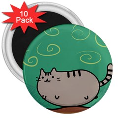 Fat Cat 3  Magnets (10 Pack)  by Onesevenart