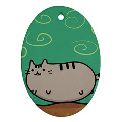 Fat Cat Oval Ornament (two Sides) by Onesevenart