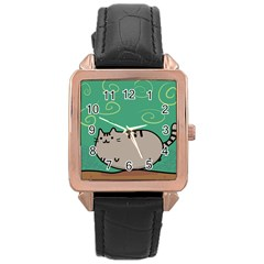 Fat Cat Rose Gold Leather Watch  by Onesevenart