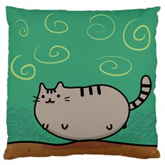 Fat Cat Large Flano Cushion Case (one Side) by Onesevenart