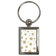 Gold Snow Flakes Snow Flake Pattern Key Chains (rectangle)  by Onesevenart