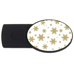 Gold Snow Flakes Snow Flake Pattern USB Flash Drive Oval (2 GB)  by Onesevenart