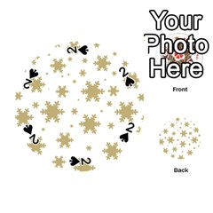Gold Snow Flakes Snow Flake Pattern Playing Cards 54 (round)  by Onesevenart