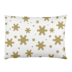 Gold Snow Flakes Snow Flake Pattern Pillow Case (two Sides) by Onesevenart