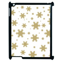 Gold Snow Flakes Snow Flake Pattern Apple Ipad 2 Case (black) by Onesevenart