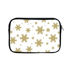 Gold Snow Flakes Snow Flake Pattern Apple Ipad Mini Zipper Cases by Onesevenart