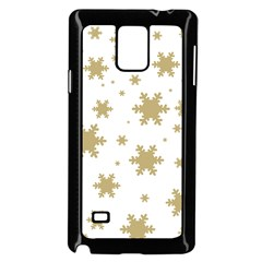 Gold Snow Flakes Snow Flake Pattern Samsung Galaxy Note 4 Case (black) by Onesevenart