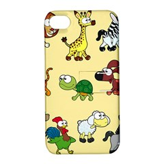 Group Of Animals Graphic Apple Iphone 4/4s Hardshell Case With Stand by Onesevenart