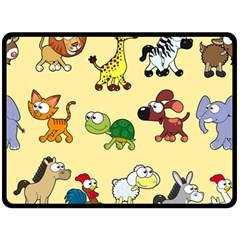 Group Of Animals Graphic Double Sided Fleece Blanket (large)  by Onesevenart