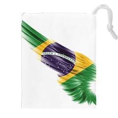 Flag Of Brazil Drawstring Pouches (xxl) by Onesevenart