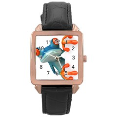 Tree Frog Illustration Rose Gold Leather Watch  by Onesevenart