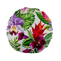 Vector Pattern Tropical Standard 15  Premium Flano Round Cushions by Onesevenart