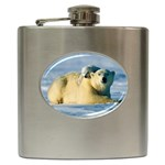 POLAR BEAR CUB & MOTHER STAINLESS STEEL HIP FLASK (6 OZ)