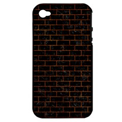 Brick1 Black Marble & Brown Marble (r) Apple Iphone 4/4s Hardshell Case (pc+silicone) by trendistuff