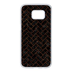 Brick2 Black Marble & Brown Marble (r) Samsung Galaxy S7 Edge White Seamless Case by trendistuff