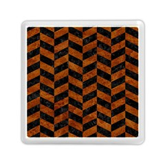 Chevron1 Black Marble & Brown Marble Memory Card Reader (square) by trendistuff