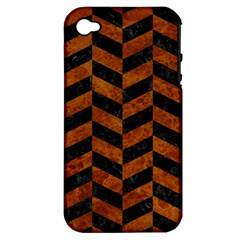 Chevron1 Black Marble & Brown Marble Apple Iphone 4/4s Hardshell Case (pc+silicone) by trendistuff