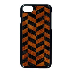 Chevron1 Black Marble & Brown Marble Apple Iphone 7 Seamless Case (black)