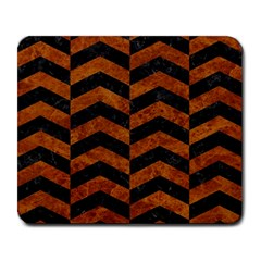 Chevron2 Black Marble & Brown Marble Large Mousepad by trendistuff