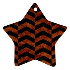 Chevron2 Black Marble & Brown Marble Star Ornament (two Sides) by trendistuff