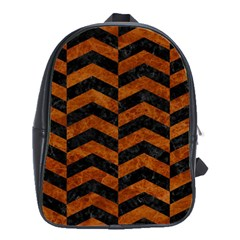 Chevron2 Black Marble & Brown Marble School Bag (large) by trendistuff