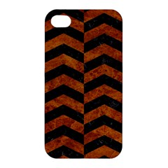 Chevron2 Black Marble & Brown Marble Apple Iphone 4/4s Premium Hardshell Case by trendistuff
