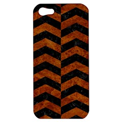 Chevron2 Black Marble & Brown Marble Apple Iphone 5 Hardshell Case by trendistuff