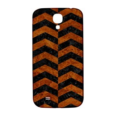 Chevron2 Black Marble & Brown Marble Samsung Galaxy S4 I9500/i9505  Hardshell Back Case by trendistuff