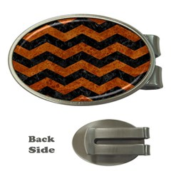 Chevron3 Black Marble & Brown Marble Money Clip (oval) by trendistuff