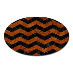 Chevron3 Black Marble & Brown Marble Magnet (oval) by trendistuff