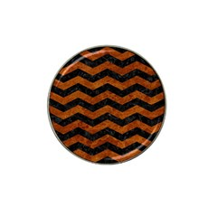 Chevron3 Black Marble & Brown Marble Hat Clip Ball Marker (10 Pack) by trendistuff