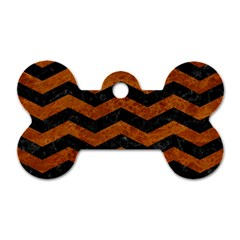 Chevron3 Black Marble & Brown Marble Dog Tag Bone (two Sides)