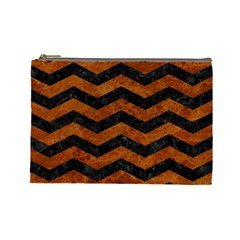 Chevron3 Black Marble & Brown Marble Cosmetic Bag (large) by trendistuff