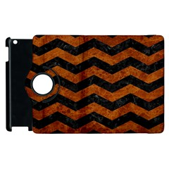 Chevron3 Black Marble & Brown Marble Apple Ipad 2 Flip 360 Case by trendistuff