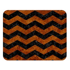 Chevron3 Black Marble & Brown Marble Double Sided Flano Blanket (large) by trendistuff